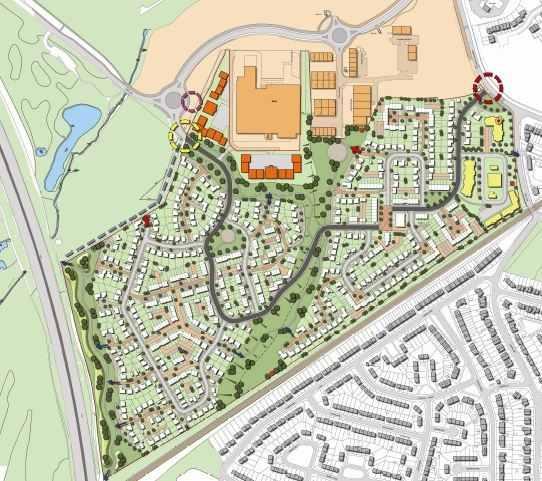 Map of Carr Lane, Prescot, proposed housing development