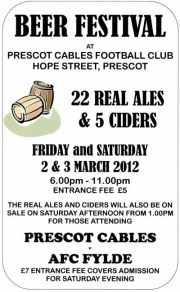 Prescot Cables FC Beer Festival 2012 poster