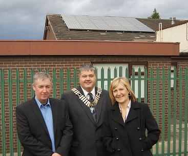 Whiston town councillors and new solar panels