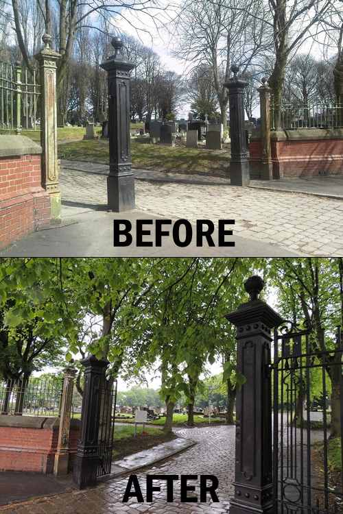 VF_new_Prescot_Cemetery_gates_before_after