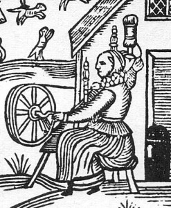 Woodcut_Woman_Spinning_Detail