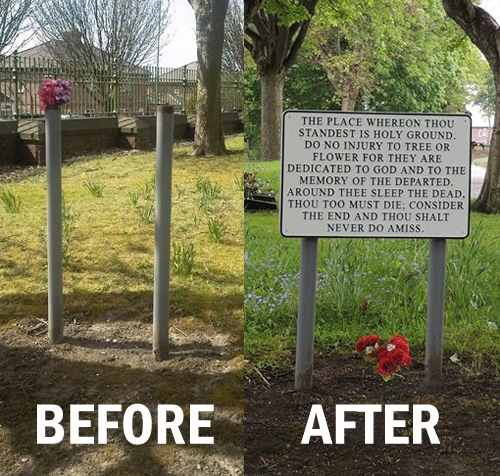 before_after_prescot_cemetery_sign
