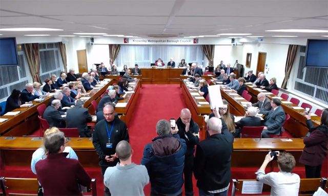 knowsley_council_local_plan_meeting_protesters